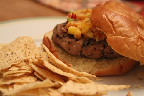 Blueberry Burger with Nectarine Salsa