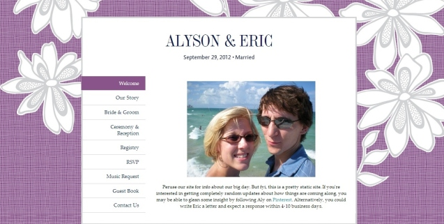 Our wedding website